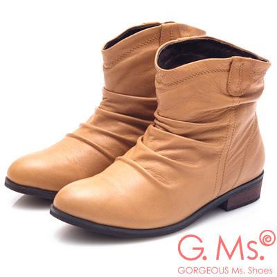 G.Ms. 牛皮抓皺V口低跟短靴-棕色