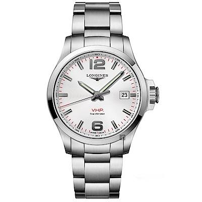 LONGINES浪琴 征服者系列V.H.P.萬年曆手錶-銀/43mm