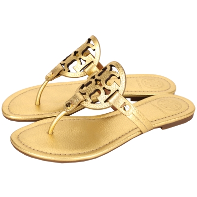 TORY BURCH MILLER METALLIC 品牌LOGO夾腳拖鞋(金色)
