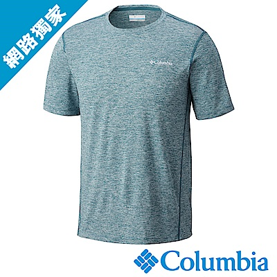 Columbia哥倫比亞 男款-快排短袖上衣 湖水藍 (UAO12930AQ)
