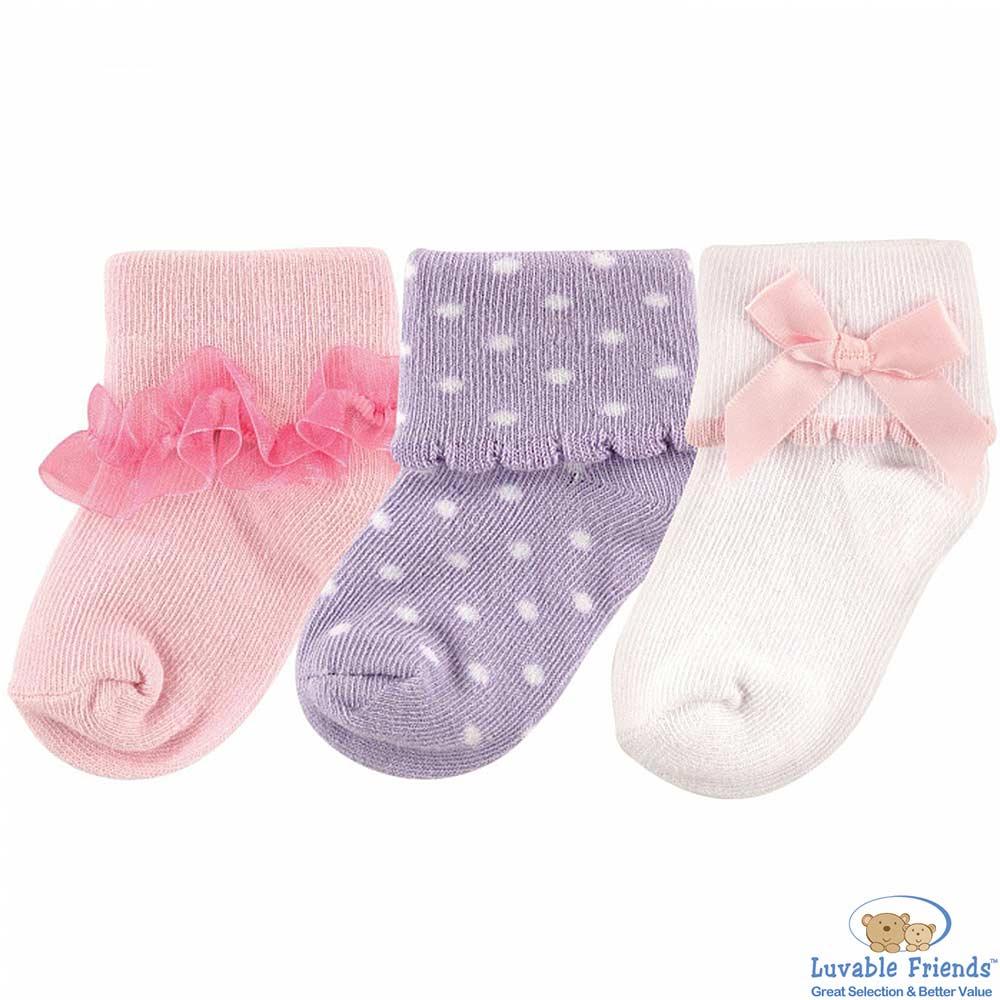 Luvable Friends 粉紅紫點款嬰兒襪童襪三件組