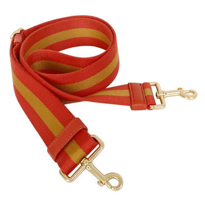 COACH橘色條紋布質雙扣造型背帶
