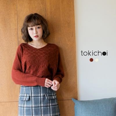 東京著衣 蝙蝠袖針織短版上衣-S.M(共二色)