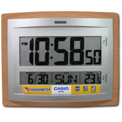CASIO 大字幕數位溫度顯示木紋掛鐘/座鐘兩用