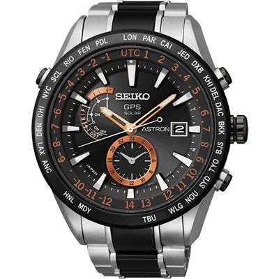 SEIKO ASTRON GPS 太陽能白【鈦】陶瓷電波腕錶-黑/47mm