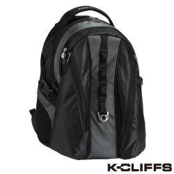 美國K-CLIFFS 雙向拉鍊簡約雙肩後背包(15吋) 黑