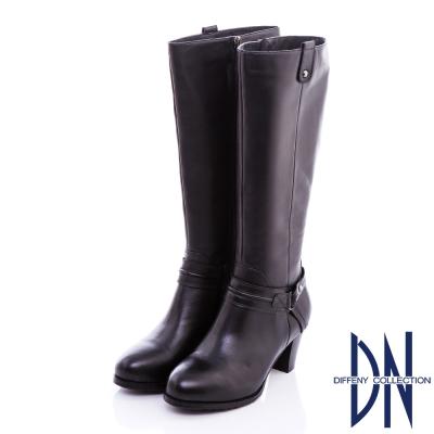 DN 俐落時尚 質感素面牛皮顯瘦長靴-黑