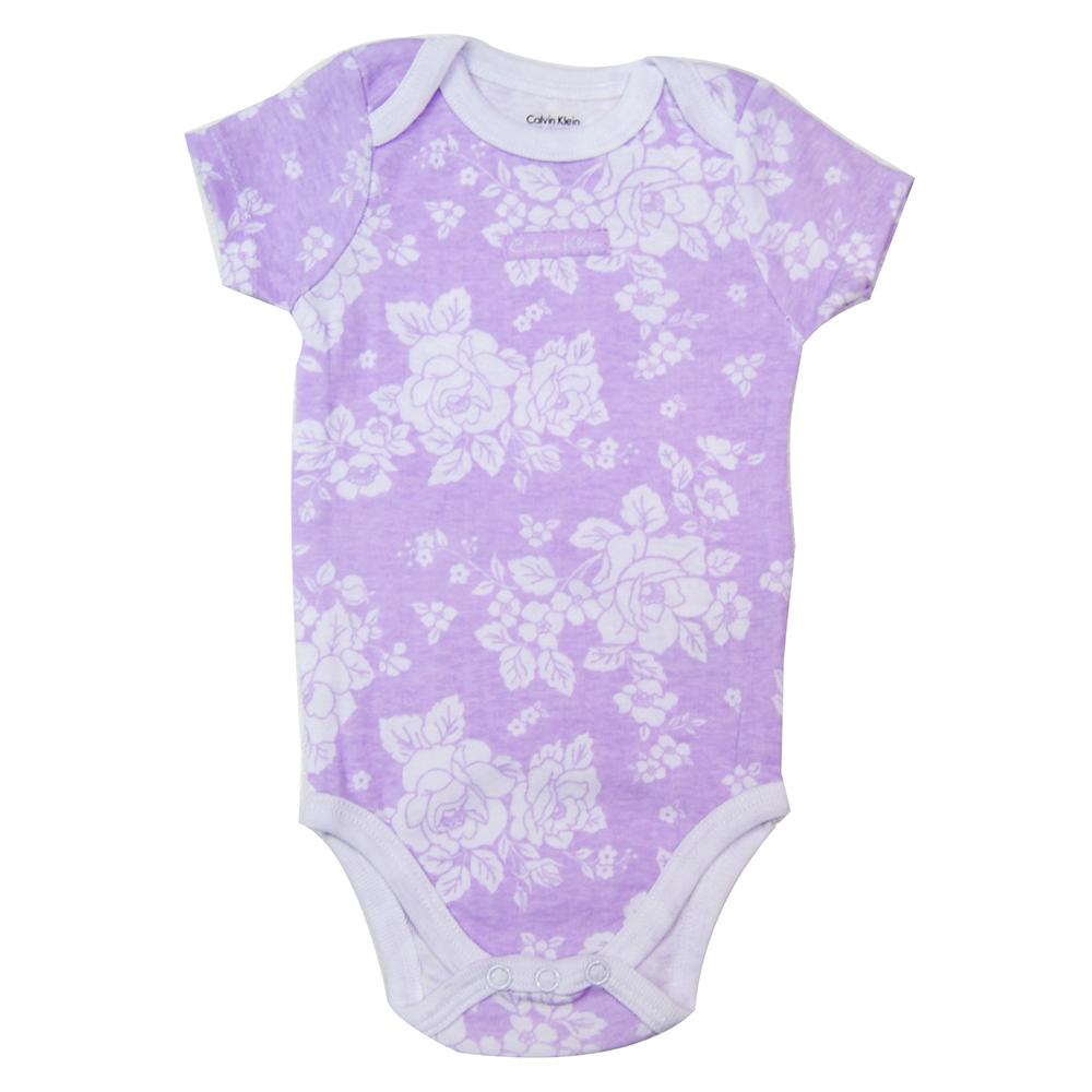 Calvin Klein粉紫拓印花朵包屁衣