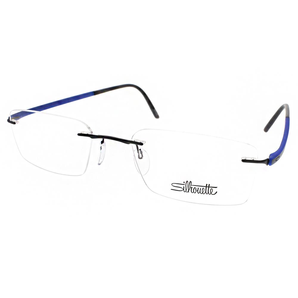 Silhouette詩樂眼鏡 輕盈無框款/黑-藍#ST5474 C6061