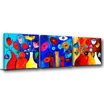 24mama掛畫-三聯式方形 掛畫無框畫 花花世界 30x30cm