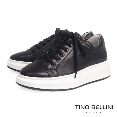 Tino Bellini 美式街頭厚底綁帶休閒鞋_黑