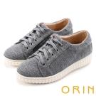 ORIN 潮流同步 素面綁帶平底休閒鞋-灰色