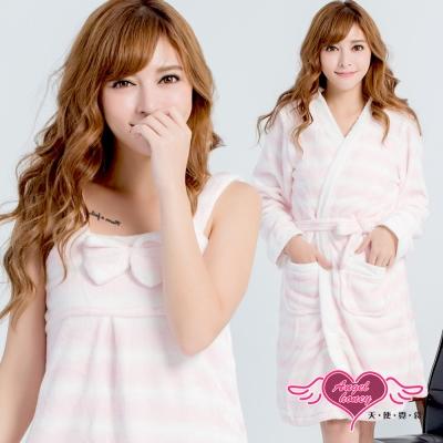 睡袍 純真甜戀 柔軟法蘭絨條紋二件式綁帶睡衣(白粉F) AngelHoney天使霓裳