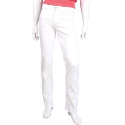 TRUSSARDI 白色仿舊銀釦直筒休閒長褲(男款)