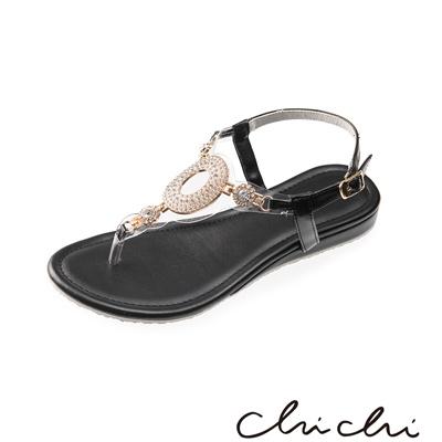 Chichi 華麗圓圈水鑽夾腳涼鞋*黑色