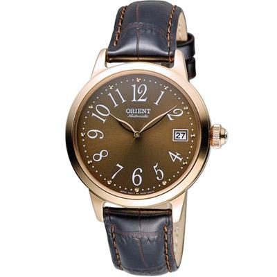 ORIENT 東方錶 花漾時光機械腕錶-咖啡色/36mm