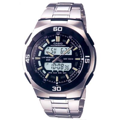 CASIO 都會光廊雙顯時區鋼帶錶(AQ-164WD-1A)-黑