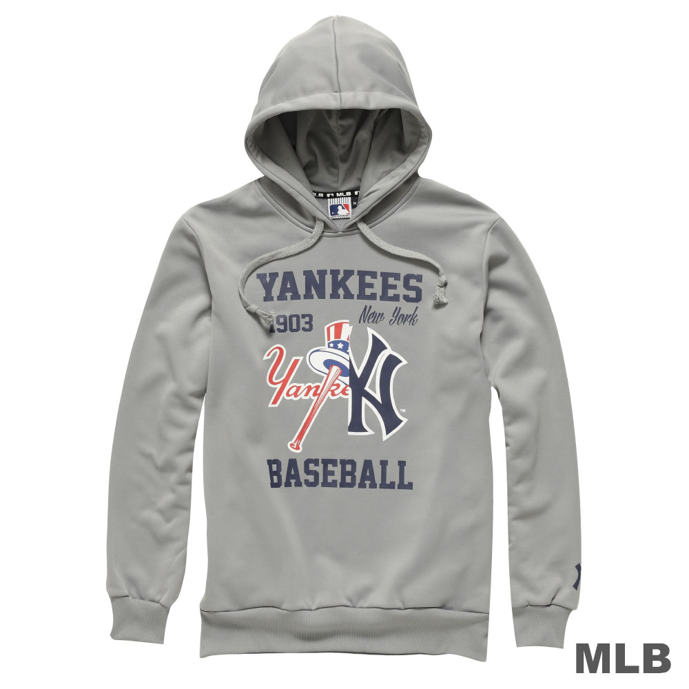 MLB-紐約洋基隊連帽鏡像印花長袖厚T恤-灰(男)
