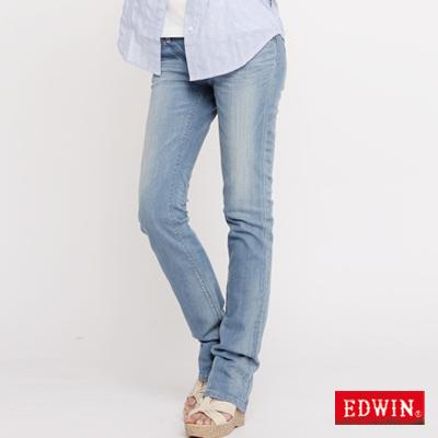 【EDWIN】MISS EG503窄直筒顯瘦牛仔褲-女款(石洗藍)