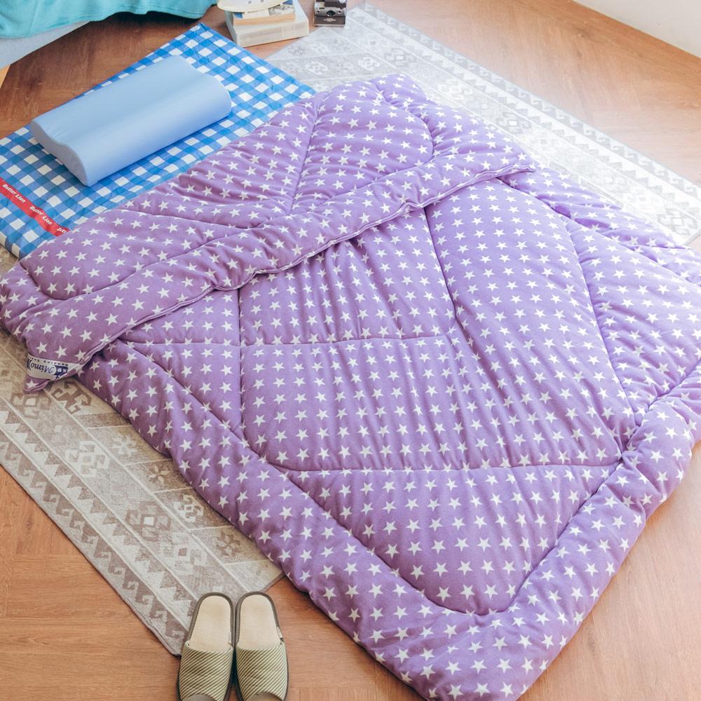 米夢家居-MIT鄉村星星可水洗搖粒絨防瞞暖暖被/發熱被/保暖墊(152x215公分)-紫