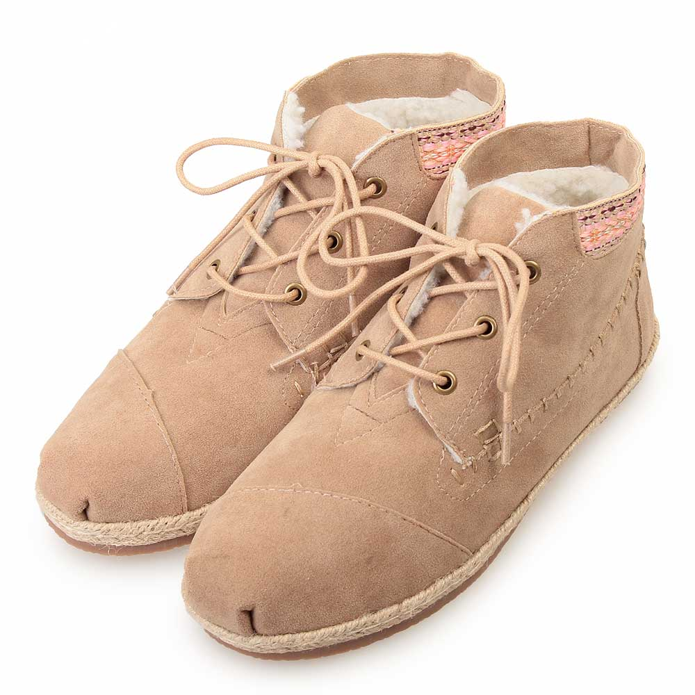 TTSNAP雪靴-圖騰織帶部落麂皮短靴 杏
