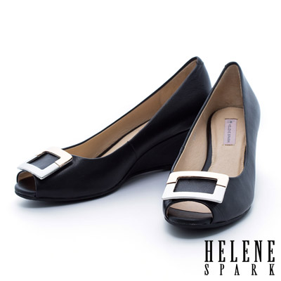 HELENE-SPARK-雙色金屬方釦羊皮魚口楔型