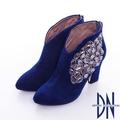 DN 晚宴派對 性感矚目鑲寶石粗跟裸靴 藍