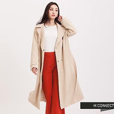 H:CONNECT 韓國品牌 女裝 - 翻領純色風衣外套 - 白