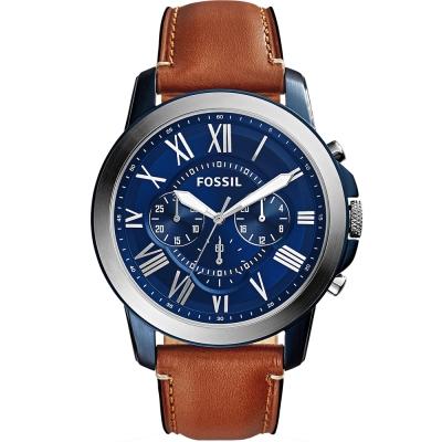 FOSSIL Grant經典復刻計時腕錶-深藍X銀框/44mm