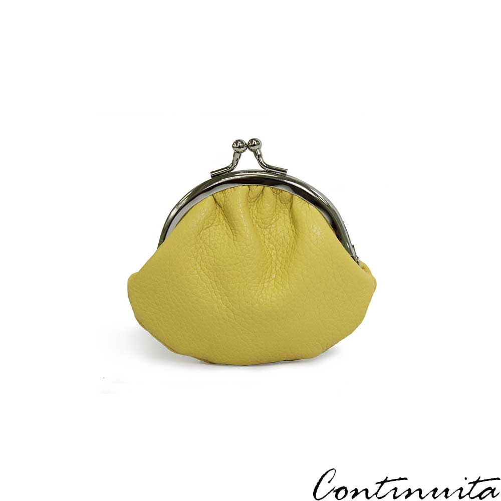 Continuita康緹尼頭層牛皮日本小巧金元寶圓弧零錢包-黃色
