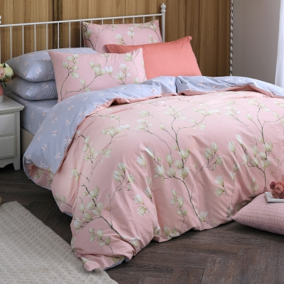 MONTAGUT-木棉花的歌謠(粉)-100%純棉-兩用被床包組(加大)