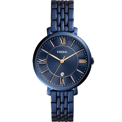 FOSSIL 羅馬風尚仕女腕錶-藍/36mm