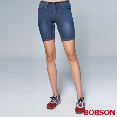 """BOBSON 女款1971""""日本黑標""""針織深藍牛仔短褲"""