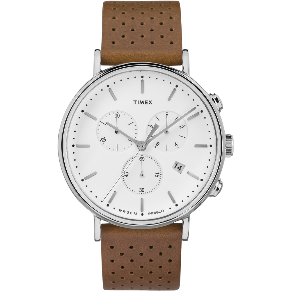 TIMEX 天美時 週末Fairfield系列 三眼計時手錶-白x棕色/41mm