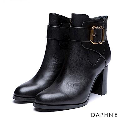 達芙妮DAPHNE 短靴-金屬釦拼接牛皮粗高跟踝靴-黑