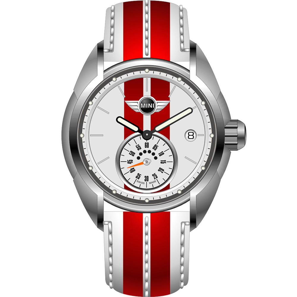 MINI Swiss Watches  休閒運動腕錶-白x紅/38mm