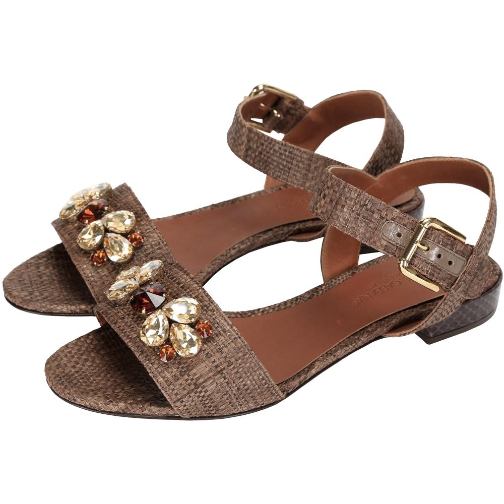 DOLCE & GABBANA 寶石編織涼鞋(咖啡色)