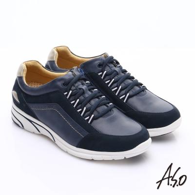 A.S.O 紓壓耐走 絨面牛皮拼接奈米休閒鞋 深藍色