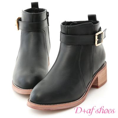 D+AF 時尚百搭.金屬單釦低跟短靴*黑