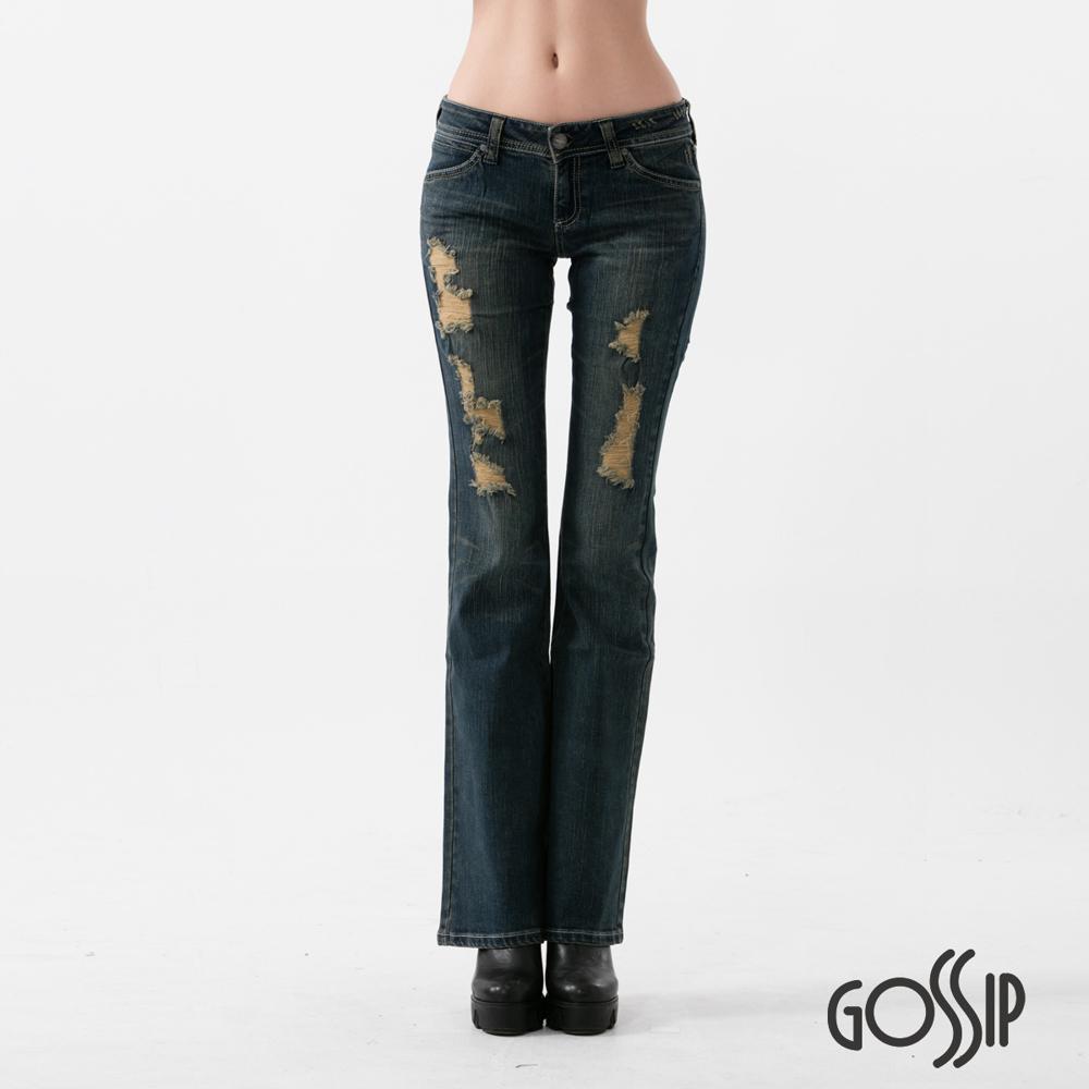 Gossip 低腰合身喇叭褲-深藍-女
