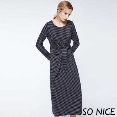 SO NICE條紋綁結別針長洋裝