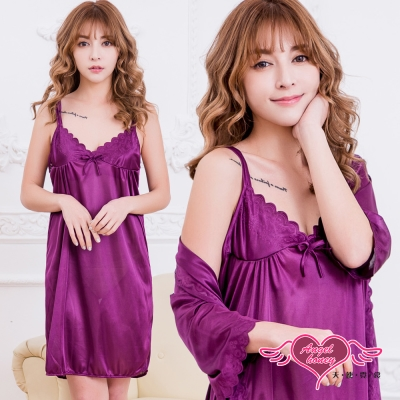 罩衫 曖昧戀曲 柔軟外罩二件式連身性感睡衣(深紫F) AngelHoney天使霓裳