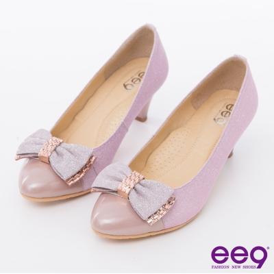 ee9高雅氣質~璀璨迷人低調奢華水鑽蝴蝶結跟鞋~粉色