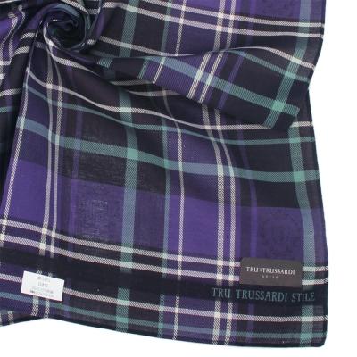 TRUSSARDI 交錯格紋純棉帕巾-綠/深紫