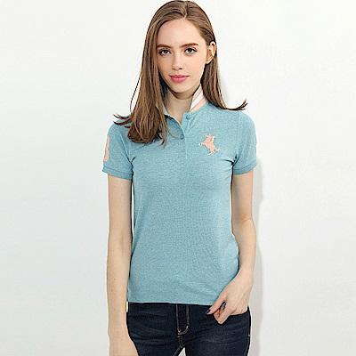 GIORDANO 女裝拿破崙立體刺繡彈力萊卡短袖POLO衫-12 雪花湖藍