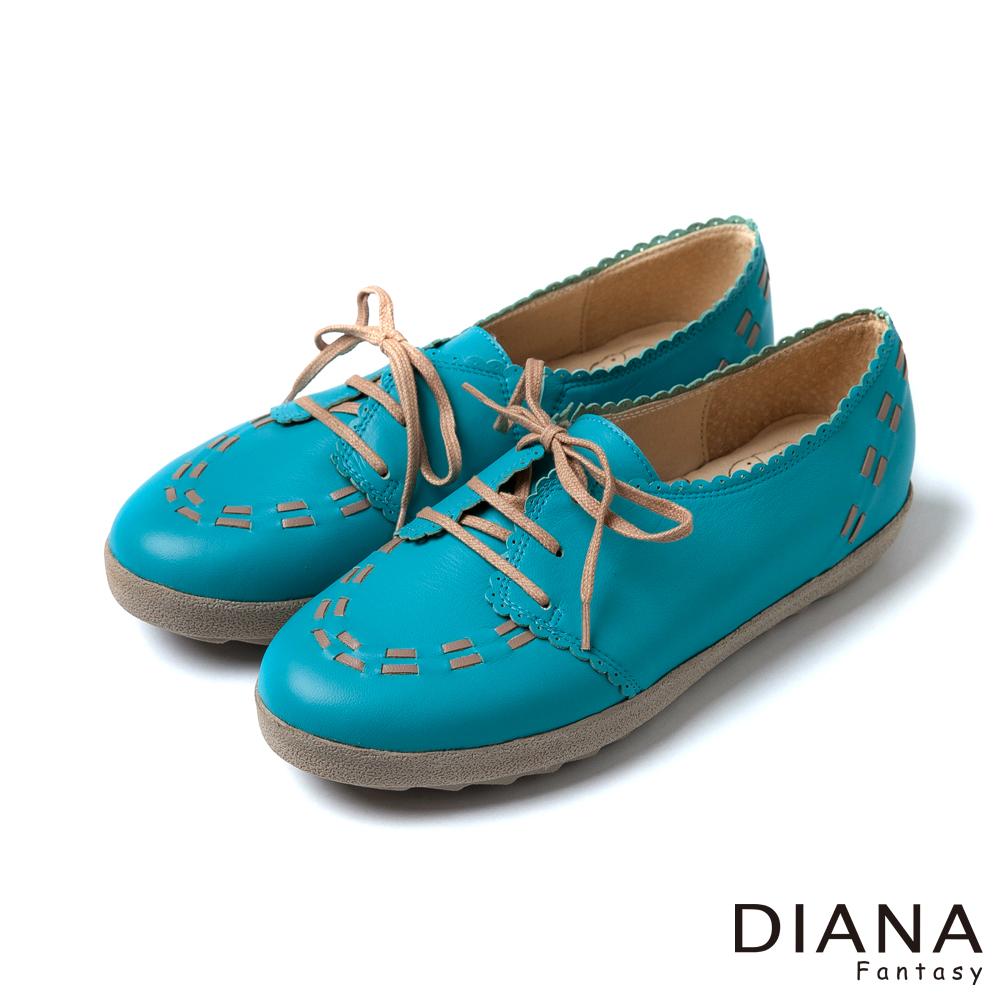 DIANA 超厚切冰淇淋款--配色線條真皮休閒鞋-藍