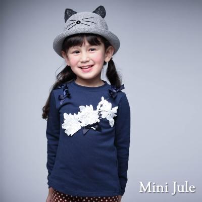 Mini Jule 童裝-上衣 立體花拼接蝴蝶結長袖棉質T恤(寶藍)