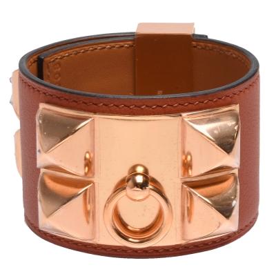 HERMES collier de chien金屬鉚釘Swift小牛皮寬版手環-S-古銅色