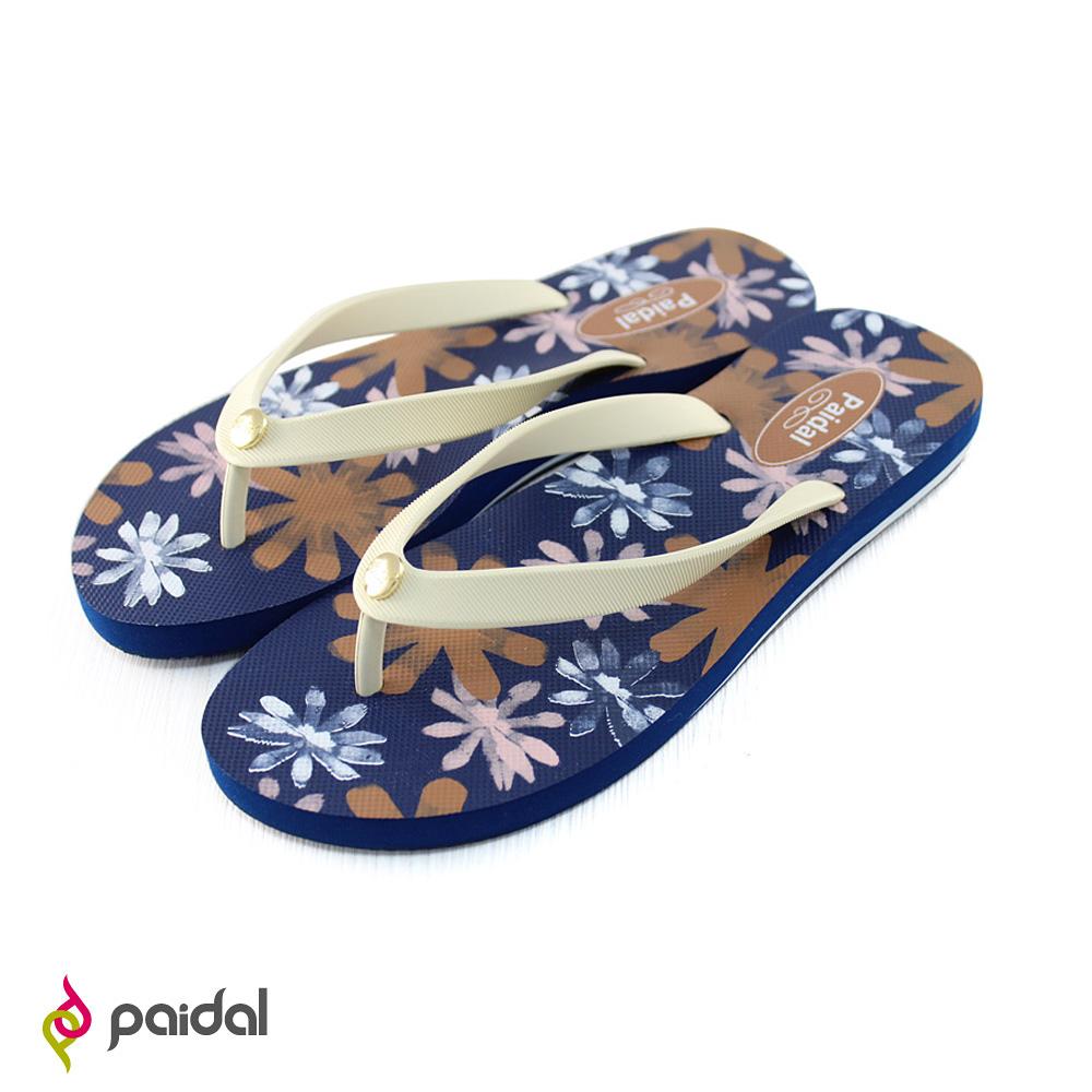 Paidal 手繪風暈彩花朵海灘拖鞋人字拖鞋-藍