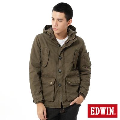 EDWIN 洗退中長版鋪棉防寒外套-男-灰褐